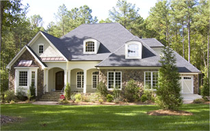 Suburban one-story home, large, landscaped, tree-filled yard. Gutter cleaning services by Modern Window.