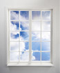 Sunny, cumulus cloud sky viewed through glistening, scratch-free windows. Scratched glass repair by Modern Window-small image.