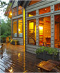 Power washed deck of residential home at dusk