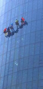 Modern Window Cleaning Superheroes Rappelling down Windows of Helen DeVos Children's Hospital