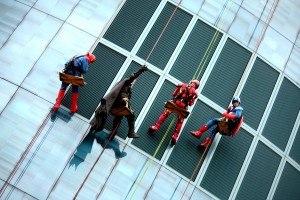Superheroes rappel down building during Helen Devos Children's Hospital Halloween Party
