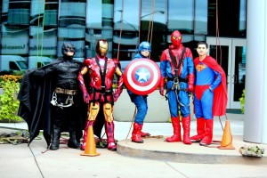Modern Window Cleaning High Rise Window Cleaners Dressed as Superheroes at the Helen Devos Children's Hospital Halloween Party