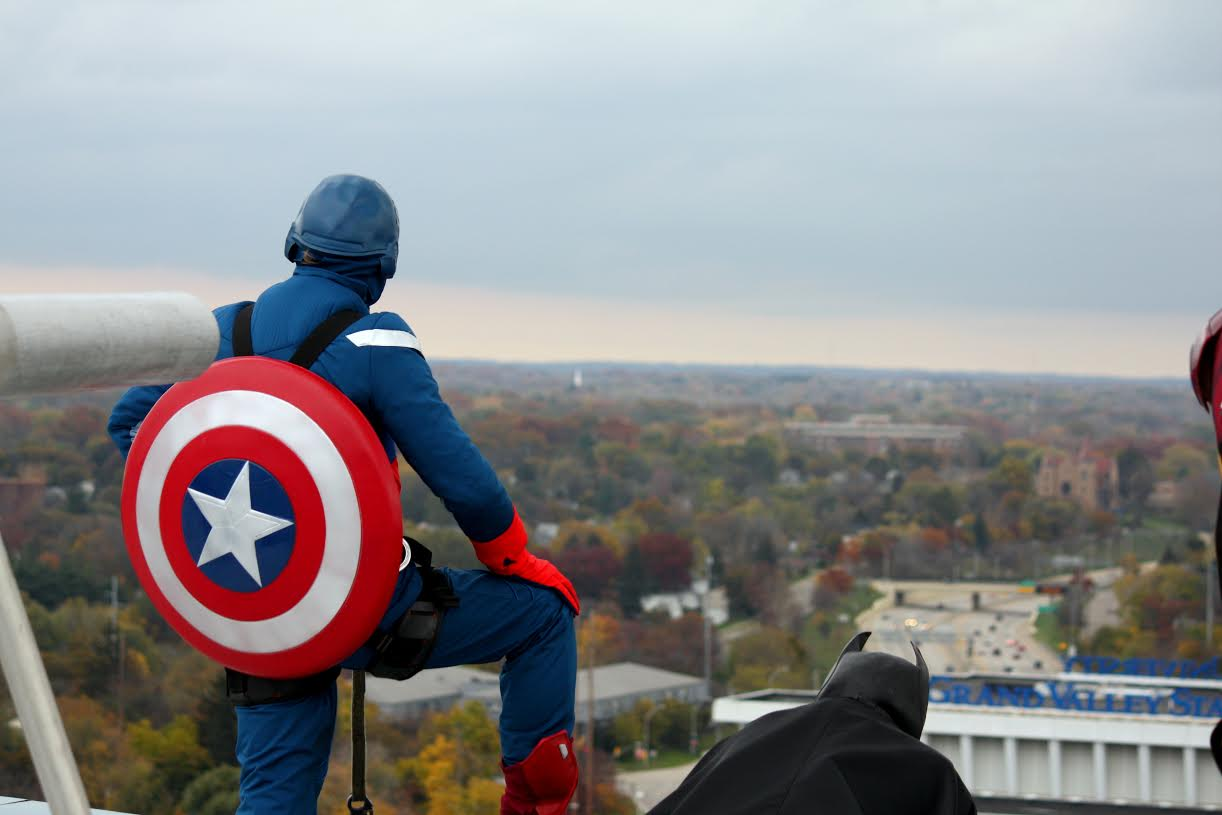Captain America looking out at the beautiful view of Grand Rapids, Michigan