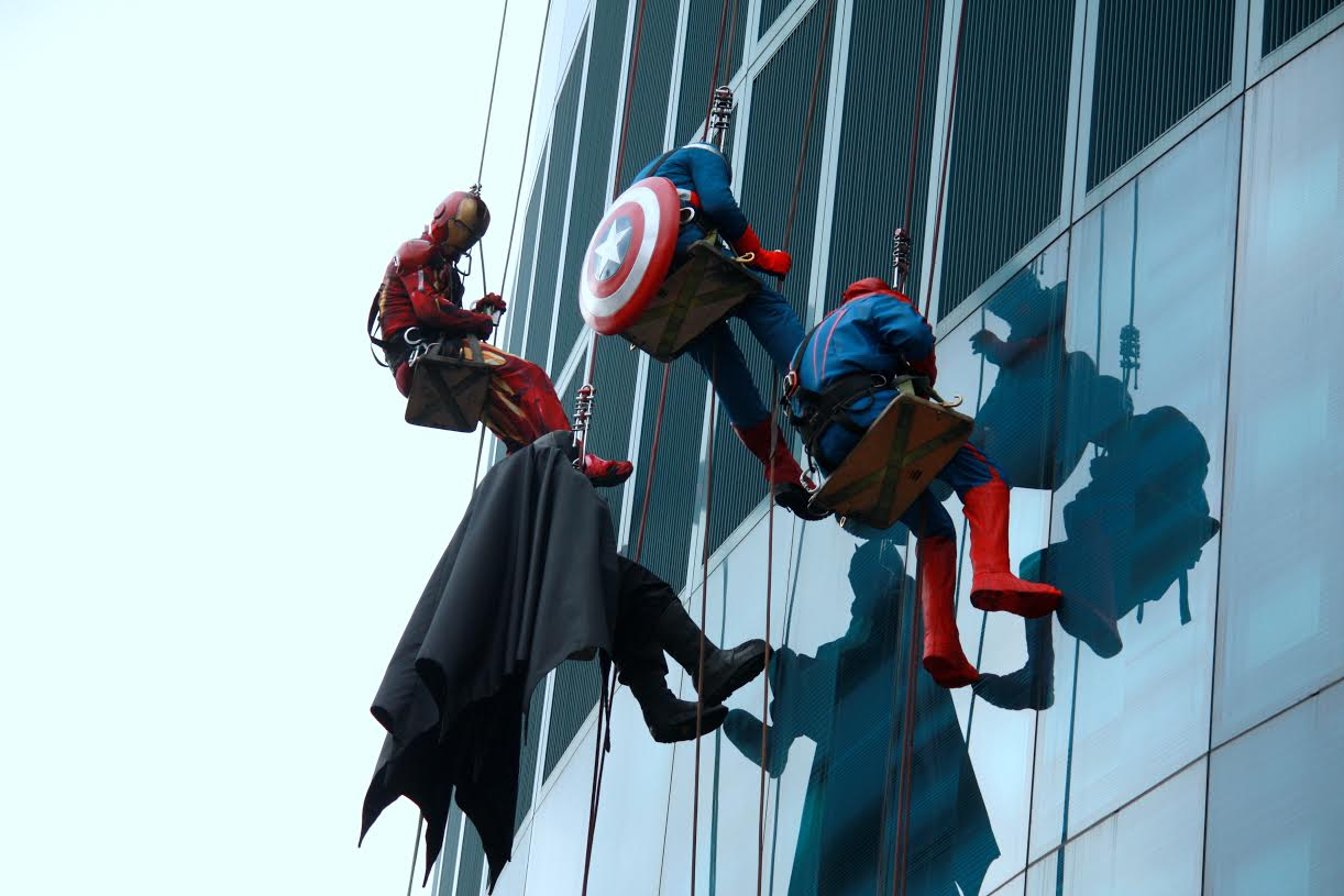 The superheroes loved waving at all the kids at the Helen Devos Children's Hospital Halloween party